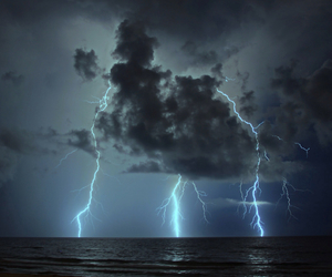 lightning, ocean, and wow image