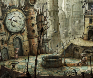 cafe, clock, and land image