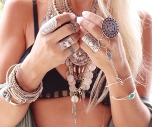 bikini, blonde, and necklace image