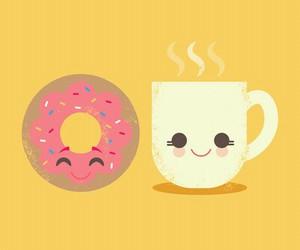 donuts, coffee, and kawaii image