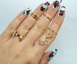 bow, floral, and gold rings image