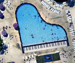 pool, piano, and summer image
