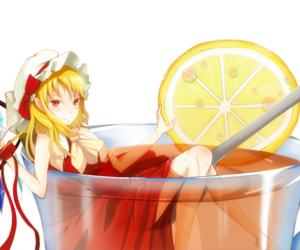 anime, red eyes, and summer drink image