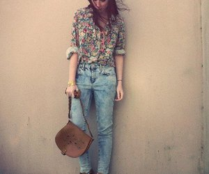 vintage, flowers, and jeans image