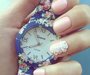 watch, nails, and flowers image