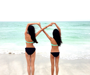 bathing suit, beach, and best friends image