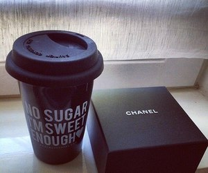 chanel, coffee, and black image
