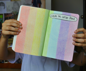book, rainbow, and wreck this journal image