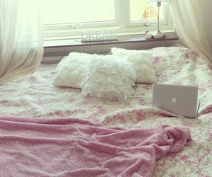 bed, pink, and room image