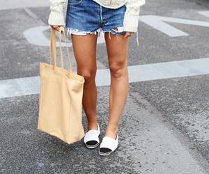 bag, clothes, and denim shorts image