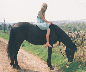 girl, horse, and vintage image