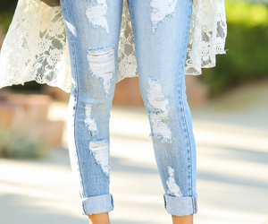 fashion, jeans, and lace image