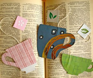book, bookmark, and tea image