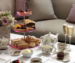 tea, cake, and sweet image