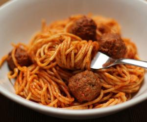 food, spaghetti, and meatballs image