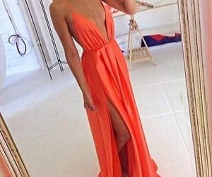 dress, fashion, and orange image