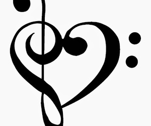 music, heart, and bass clef image