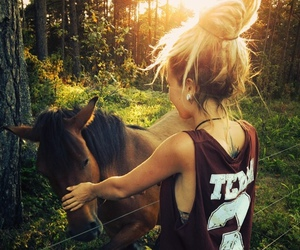 horse, girl, and swag image