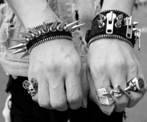 black and white, punk, and rings image