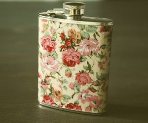 flowers, floral, and flask image