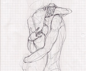 beautiful, drawing, and hug image