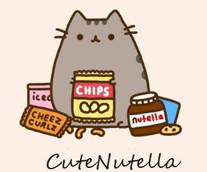 cat, food, and nutella image