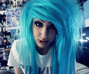 blue hair, cute girl, and emo image