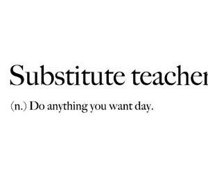 black and white, definition, and substitute teacher image