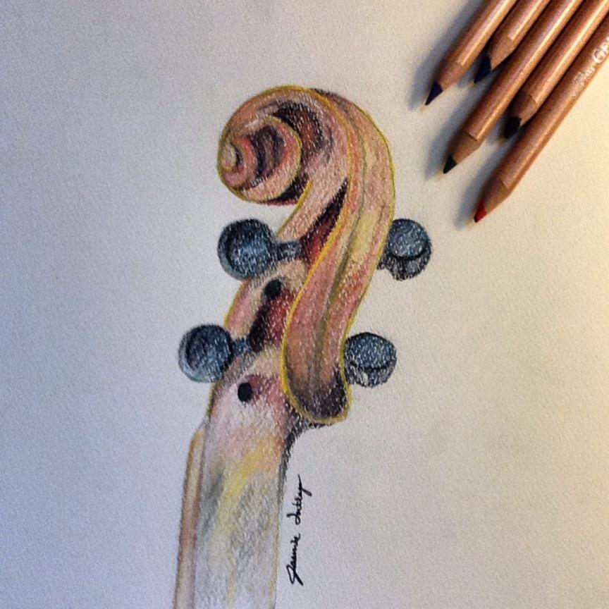 drawing, violin, and love image