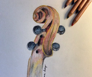 drawing, violin, and love image