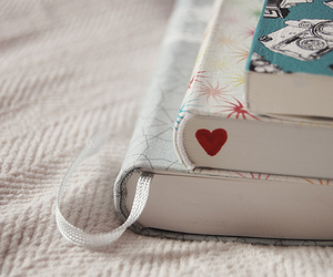 three, books, and heart image