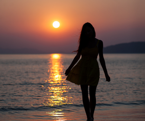 girl, beach, and sunset image