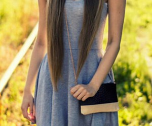 dress, grey, and hair image