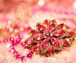 pink, flowers, and jewelry image