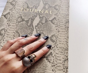 journal, nails, and rings image