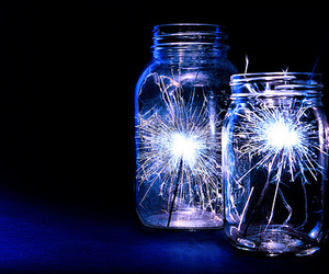 light, jar, and fireworks image