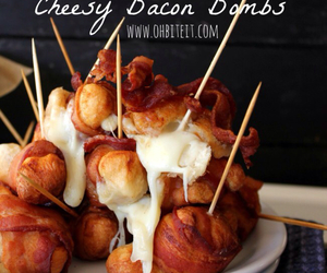 food, bacon, and cheese image