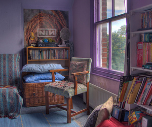 attic, books, and cushions image