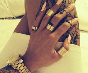 tattoo, nails, and watch image