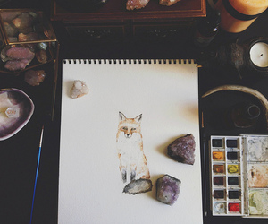 art, fox, and vintage image