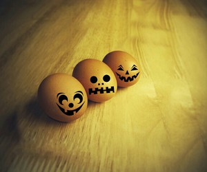eggs, faces, and Halloween image
