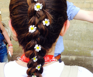 brown, dyed hair, and flowers image
