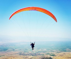 beatiful, blue, and paragliding image