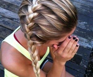 black nails, braid, and girl image