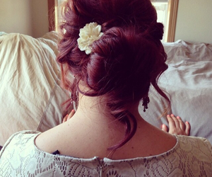 bride, redhair, and updo image