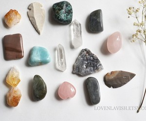 crystals, jewelry, and mystic image