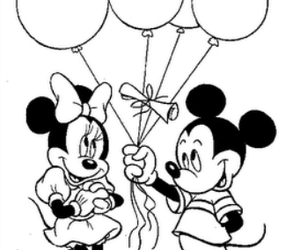 balloons, black and white, and minnie mouse image