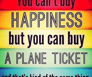 happiness and plane ticket image
