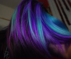 blue, dyed hair, and hair image