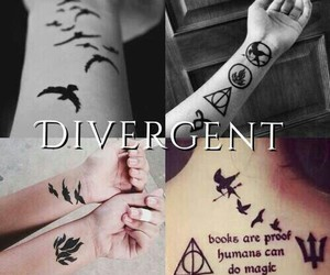 divergent, tattoo, and book image